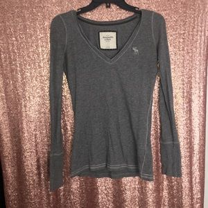 Abercrombie gray long sleeve logo shirt